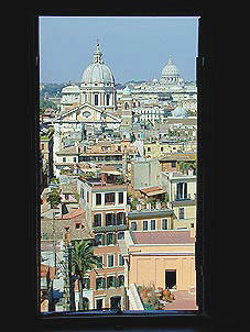 The Spanish Steps quarter, S. Carlo al Corso and St. Peter seen from the windows of the nuns of the Church.